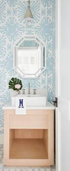powder room wallpaper with beige wood