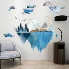 Living Room Wall Sticker With Blue Mountain Water Tree Print Thefuns On Artfire