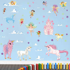 Decalmile Colorful Unicorn Wall Stickers Fairy Castle Wall Decals Baby Girls Nursery Room Wall Decor