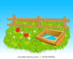 Cartoon Wooden Farm Fence Trough Water Stock Vector Royalty Free 747474031