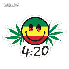 Volkrays Creative Car Sticker 420 Smiling Face Vinyl Sticker Weed Leaf Leaves Decal Waterproof Sunscreen Decals 13cm 8cm Car Stickers Aliexpress