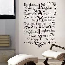 Creative Family Rules Quote Home Declas Wall Stickers Removable Waterp Ellaseal