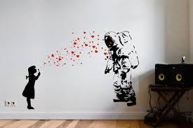 Wall Decal Astronaut Heart Bubble Girl Banksy Astronaut S Daughter Wall Sticker Banksy Style Street Art Graffiti Urban Interior Design Banksy Wall Art Love Wall Art Graffiti Wall