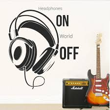 Music Room Music Wall Sticker Quotes Headphones On World Off Family Bedroom Decoration Vinyl Decal Teenagers Room Mural Wall Stickers For Girls Wall Stickers For Home From Joystickers 10 85 Dhgate Com
