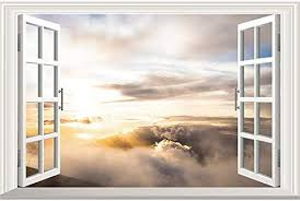 Amazon Com Home Find 3d Fake Windows Walls Stickers Frame Window Decals Sunshine Through The Clouds Scenery Decor Removable Vinyl Art Murals Bedroom Living Room Home Decorations Home Kitchen