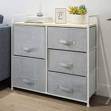 Amazon Com Homesailing Grey Bedroom Chest Of 5 Fabric Drawers Dresser Closet Living Room Unit Storage Sideboard Cabinet For Kids Room Clothes Toy Collection Nursery Tv Stand Cabinet 32inches Kitchen Dining