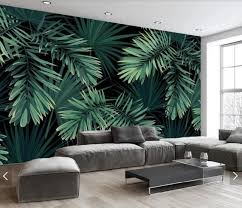 Jungle Palm Leaves Wallpaper Murals Tropical Leaves Wall Mural 3d Printed Wall Art Decals Photo Wall Papers Rolls Hand Painting Murals Palm Leaf Wallpaper Home Wall Decor Wall Murals