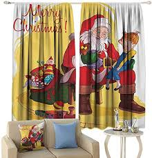 Amazon Com Tidefree Decor Curtains Christmas Little Child Sitting On Santa Knee With Gifts Doll And Toy Train Kids Design Privacy Protection Multicolor Home Kitchen