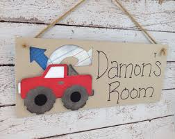 Personalized Kids Bedroom Door Sign Red Truck On Luulla