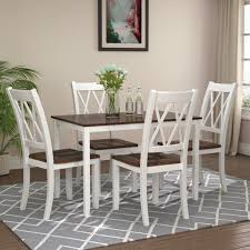 Clearance Dining Table Set With 4 Chairs 5 Piece Wooden Kitchen Table Set Rectangular Dining Table Set Small Space Breakfast Furniture For Dining Room Restaurant Coffee Shop White W5964 Walmart Com Walmart Com