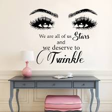 Eyelashes Eyebrows Wall Stickers Beauty Salon Quote Wall Vinyl Decals Twinkle Eyes Window Stickers Beauty Salon Decoration Wish