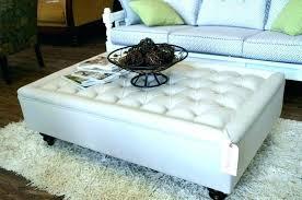round gray tufted leather ottoman white