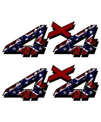 4x4 Rebel Flag Sticker Set Aftershock Decals