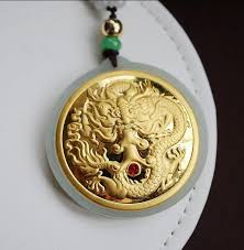 3d 24k gold dragon jade pendant for men