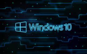 windows 10 glowing logo on a network