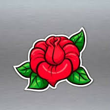 Red Rose Vinyl Sticker Retro Rockabilly Cartoon Car Bumper 100 X 80 5 Mm Ebay