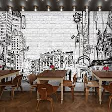 brick wallpaper restaurant cafe wall