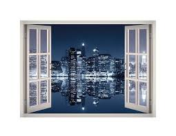 Manhattan City Night Lights Window 3d Wall Decal Art 3d Wall Decals Decal Wall Art 3d Wall