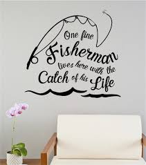 One Fine Fisherman Lives Here Sports Vinyl Decal Wall Stickers Words Lettering Quote