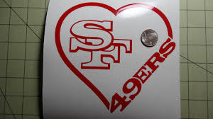 San Francisco 49ers Heart Car Decal By Veiledtrove On Etsy Heart Decals Car Decals 49ers