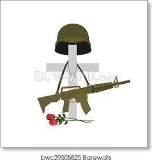 Fallen Soldier Rifle Helmet Boots Dog Tag Vinyl Window Decal Sticker