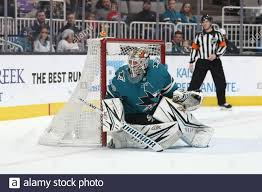 San Jose Sharks goaltender Aaron Dell (30) watches the puck during ...