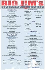 Big Jim's Seafood House menu in York ...