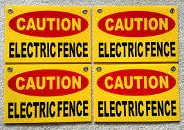 4 Danger Electric Fence Warning Signs For Sale Online Ebay