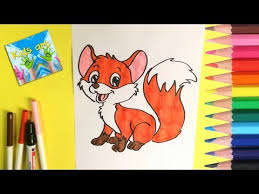 how to draw and color cute baby fox