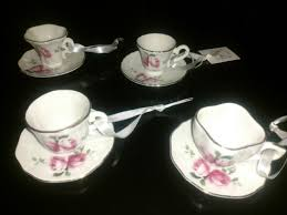 downton abbey set of 4 tea cups