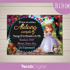 Tarjetas Invitaciones Cumpleanos Princesa Sofia Digital 160