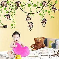 Amazon Com Chicoco Home Kid Room Decoration Cartoon Cute Monkeys Climbing Jungle Tree Wall Sticker Home Decor Accents For Living Room Flower Wall Decals Home Improvement Paint Wall Murals Decor Mural Paper Sports