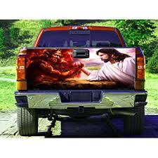 Amazon Com Jesus Vs The Devil Tailgate Wrap Truck Decal Tailgate Sticker Gc2432 Baby