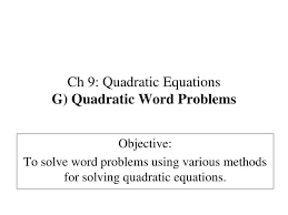 ppt ch 9 quadratic equations g