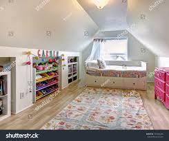 White Vaulted Ceiling Kids Room Hardwood Stock Photo Edit Now 197682245