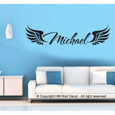 Personalised Name With Angel Wings Wall Sticker Temple Webster