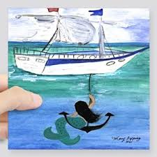 Mermaid Boat Stickers Cafepress