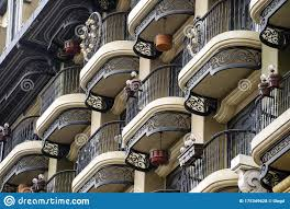 Vintage Wall Of A Building With Many Balconies With Wrought Iron Cast Iron Fencing Stock Photo Image Of Baroque Exterior 175349628