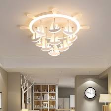 Hot Offer A63b3e Sailboat Modern Led Chandelier Lighting White Children S Room Chandelier For Boy Bed Room Kids Room Study Room Lampadario Led Cicig Co