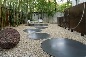 modern landscape concrete circles
