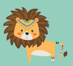 Lion Wall Decal Tribal Lion Fabric Wall Decal Eco Wall Decals