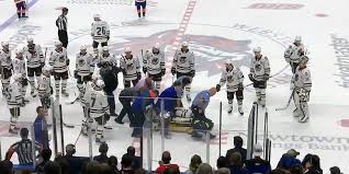 Aaron Ness stretchered off the ice after headfirst collision into boards -  RMNB