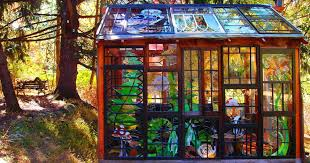 a stained glass cabin in the