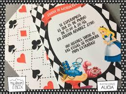 Tarjetas Invitacion Cumple Evento Infantil Alicia Maravillas