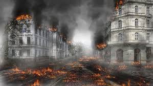 hd wallpaper burned down city