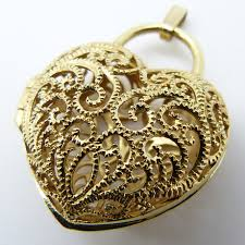 gold filigree heart locket jewellery