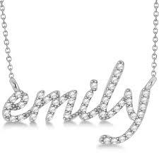 name pendant necklace 14k white gold