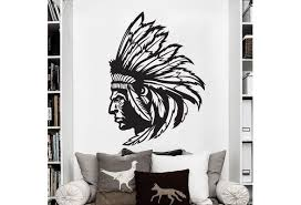 Native American Indian Chief Wall Stickers Home Decoration For Living Room Bedroom Wall Decals Art Wish