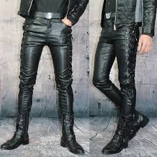 leather pants male slim leather pants