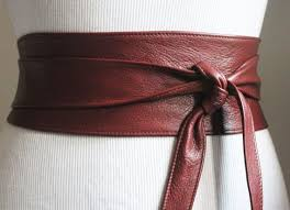 brown leather obi belt corset